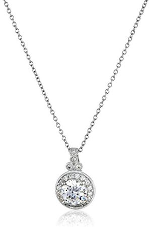 La Lumiere Platinum-Plated Sterling Silver and Swarovski Zirconia Round-Cut Antique Pendant Necklace