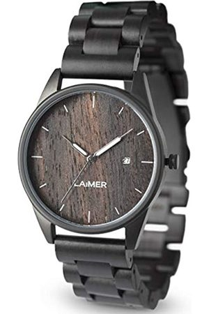 Laimer Wood watch SASCHA – mens wristwatch made of Ebony wood and stainless steel case - nature & luxury lifestyle