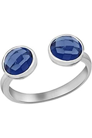 Tuscany Silver Women's Sterling Silver 6 mm Dark Glass Stone Torque Ring
