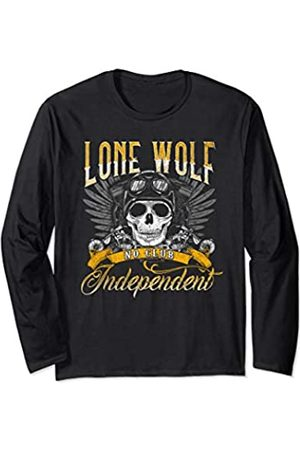 NYC Motorcycle Shirt Co Independent Biker Gift Men Lone Wolf No Club Motorcycle Long Sleeve T-Shirt