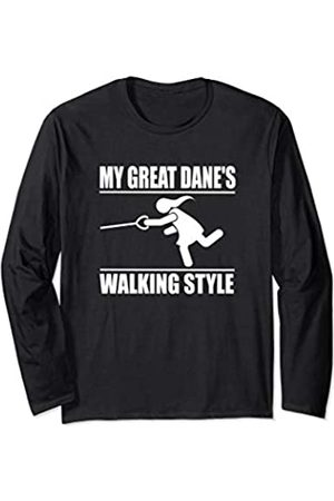 ToonTyphoon Humorous Great Dane ( Women ) Walking Style Long Sleeve T-Shirt