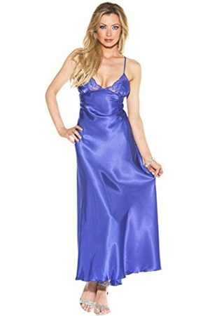 Shirley of Hollywood 20300 Medium Blue Charmeuse and Lace Long Gown