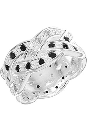 Tuscany Silver Women's Sterling Silver 1 mm and Cubic Zirconia Braided Band Ring