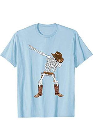 BUBL TEES Dabbing Skeleton Cowboy Hat Boots Halloween Kids Boys Gift T-Shirt