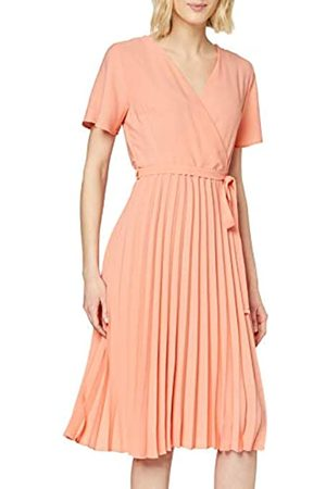 Dorothy Perkins Women's Coral Wrap Pleated Midi Dress