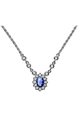 Zeeme Women 925 Silver Oval Blue Glass Zircon FINENECKLACEBRACELETANKLET