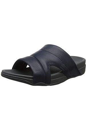 FitFlop Men's Freeway Pool Slide in Leather Open Toe Sandals, (Supernavy)