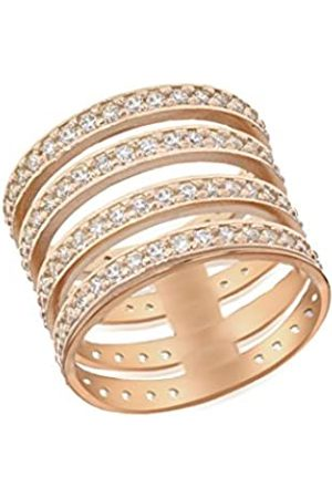 Tuscany Silver Women's Sterling Silver Rose Gold Plated 1 mm Cubic Zirconia Four Band Ring