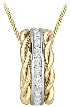 Carissima Gold Women's 9 ct Two Colour Cubic Zirconia Band Twist Pendant Necklace of Length 45.72cm