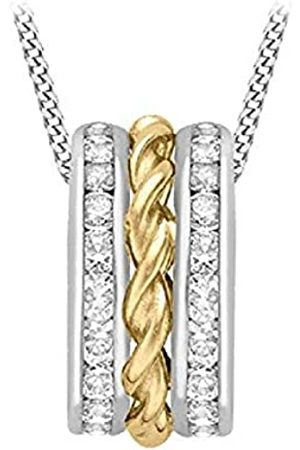 Carissima Gold 9 ct 2 Tone and White Gold Cubic Zirconia Twist 3 Ring Pendant on Chain Necklace of Length 46 cm/18 inch