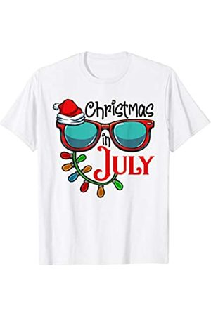 Merry Christmas In July Family Party Gift T Shirts Christmas In July Santa Hat Sunglasses Summer Celebration T-Shirt