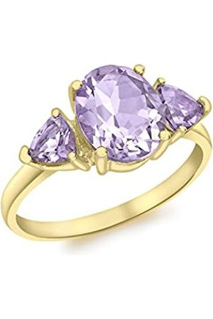Carissima Gold 9ct Gold Oval And Triangle Amethyst Ring - Size L