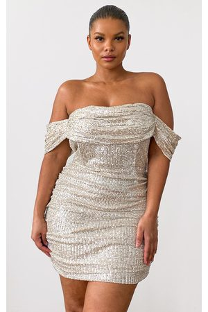 PRETTYLITTLETHING Women Bodycon Dresses - Plus Cream Sequin Bardot Bodycon Dress