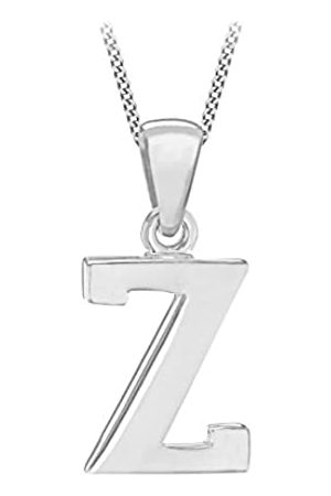 Tuscany Silver Women's Sterling Initial Z Pendant on Curb Chain of Length 46 cm/18 Inch