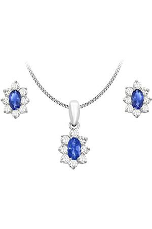 Carissima Gold 9ct Blue and Cubic Zirconia Flower Cluster Stud Earrings and Pendant on Curb Chain Necklace of 46cm/18""