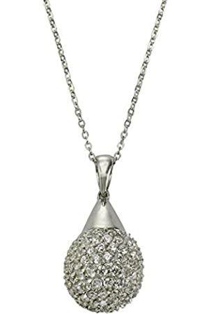 "CELESTA Women""s Necklace with Pendant 925 Sterling Rhodium-Plated Zirconia White 45 CM Round 500244690"