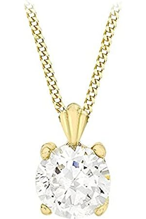 Carissima Gold Women's 9 ct 6 mm Round Cubic Zirconia Pendant on 9 ct 0.7 mm Diamond Cut Curb Chain Necklace of Length 41 cm/16 Inch
