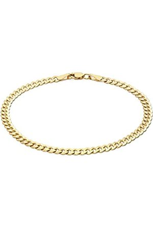 Carissima Gold Women's 9 ct Yellow Gold Diamond Cut Flat Curb Chain Bracelet of Length 19 cm