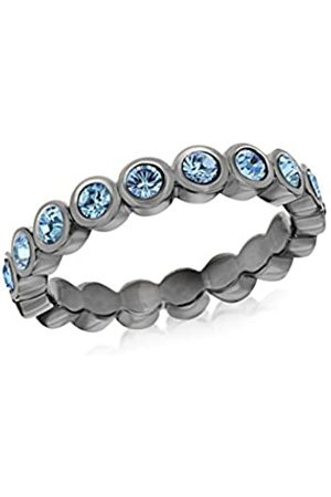 Tuscany Silver Women's Sterling Silver Rhodium Plated 3 mm Round Aqua Blue Crystals Rubover Set Band Stacking Ring