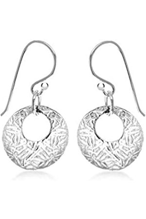 Tuscany Silver Sterling Round Textured Drop Earrings
