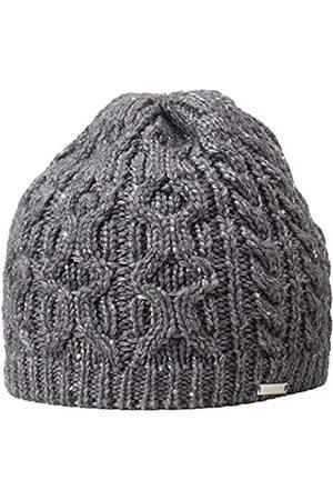 Giesswein Women's Beanie Grafenmatt Schiefer ONE - Knitted hat Made of Merino Wool, coarse Knitted Plait Pattern, with Glittering Yarn,Warm Fleece Insert