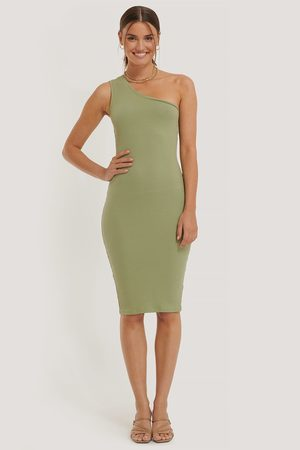 NA-KD One Shoulder Rib Dress - Green