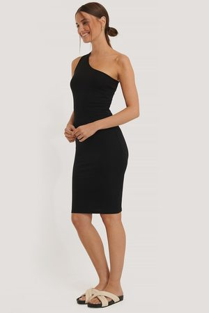 NA-KD One Shoulder Rib Dress - Black