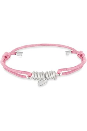 Tuscany Silver Women's Sterling Heart Charms Pink Cord Candy Rope Bracelet of Length 19 cm/7.5 Inch