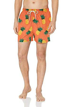 "28 Palms 4.5"" Inseam Tropical Hawaiian Print Swim Trunk Coral Pineapple"