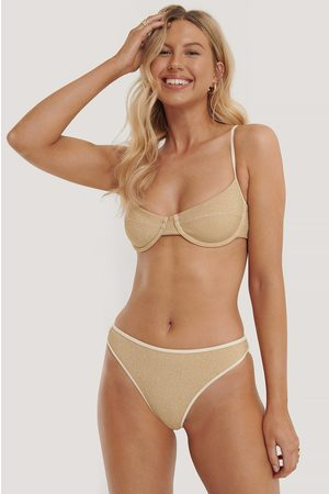 NA-KD Clean Highcut Bikini Panty - Gold