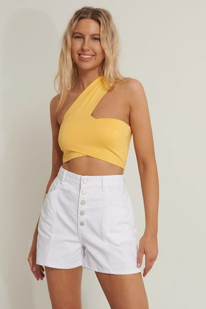 NA-KD Wrapped Crop Top - Yellow
