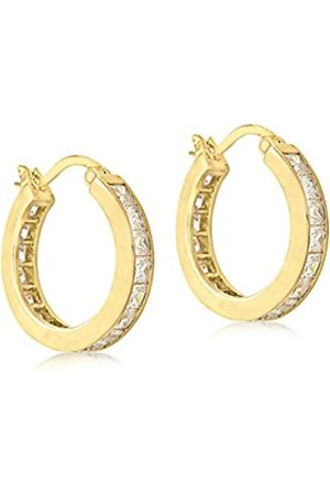Tuscany Silver Women's Sterling Gold Plated Cubic Zirconia 15.5 mm Hoop Earrings