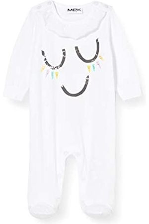 MEK Baby Girls' Tutina Jersey Rouches Al Collo Playsuit, (Optical 01#Nero/A)