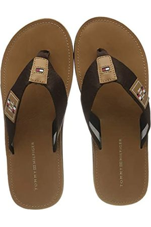 Tommy Hilfiger Men's Elevated Th Leather Beach Sandal Open Toe, (Desert Sky Dw5)