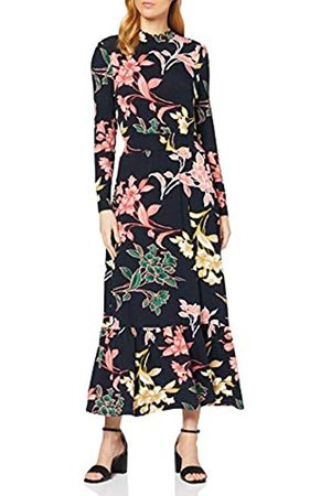 Dorothy Perkins Women's Navy Floral Tiered Shirred Neck Midaxi Dress Casual