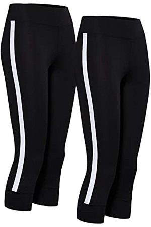 AURIQUE Amazon Brand - Women's Side Stripe Cropped Sports Tights, 8