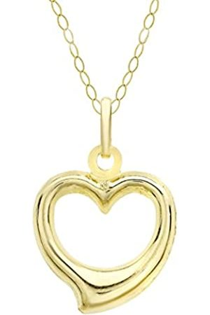 Carissima Gold Women's 9 ct 12 x 14 mm Heart Pendant on 9 ct 0.6mm Soldered Trace Chain Necklace of Length 46 cm/18 Inch