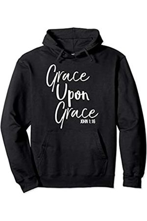P37 Design Studio Jesus Shirts Christian Bible Verse Quote for Women Grace Upon Grace Pullover Hoodie