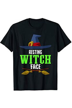 BUBL TEES Resting Witch Face Broomstick Hat Spooky Halloween T-Shirt