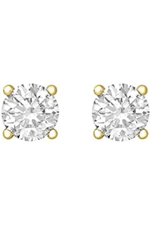Tuscany Silver Women's Sterling Silver Plated 5 mm Cubic Zirconia Claw Set Stud Earrings
