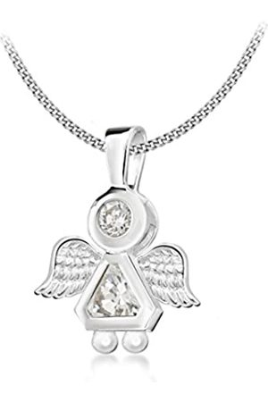 """Tuscany Silver Sterling Cubic Zirconia Angel Pendant on Adjustable Curb Chain Necklace of 41cm/16""""-46cm/18"""""""