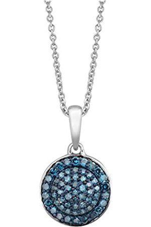 Jewelili Sterling Silver Diamond Cluster Pendant with Chain