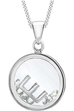 Tuscany Silver Women's Sterling Floating Cubic Zirconia E Round Pendant on Curb Chain of Length 46 cm/18 Inch