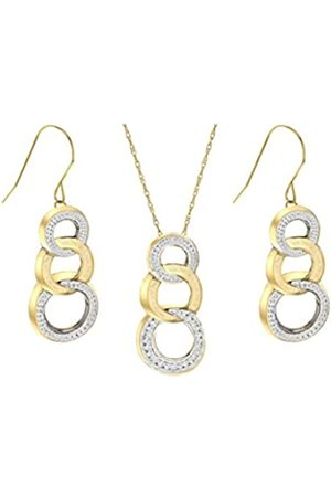 Carissima Gold 9ct 2 Colour Gold Triple Drop Earrings and Pendant on Chain of 46cm/18""