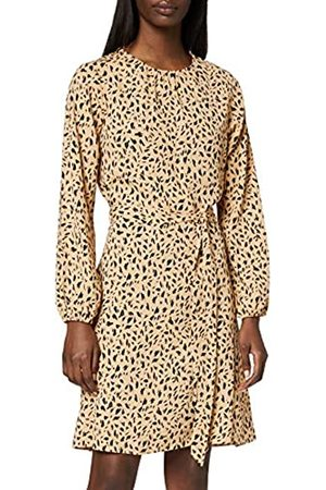 Dorothy Perkins Women's Abstract Print Long Sleeve Pleat Neck Fit and Flare Dress Casual
