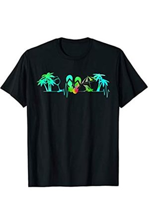 Heartbeat Palm Flip Flop Summer Lover Tees Gift Summer Heartbeat Shirt Palm Tree Wine Glass Flip Flop Camper T-Shirt