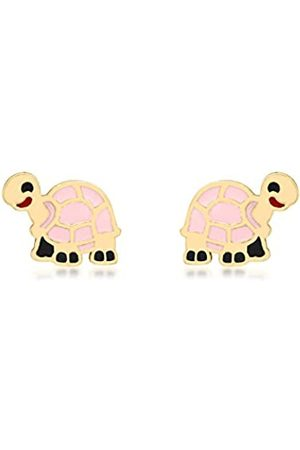 Carissima Gold 9ct Gold Pink Enamel Tortoise Stud Earrings