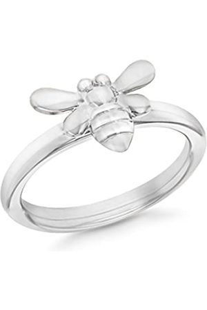 Tuscany Silver Women's Sterling Silver Rhodium Plated Bee Stacking Ring