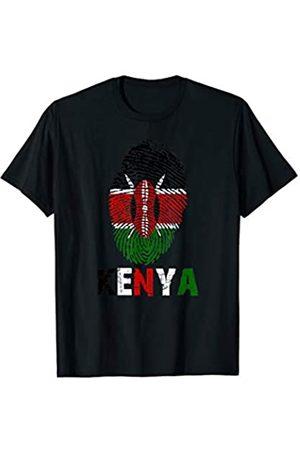 Vishtea KENYA Finger Print Flag Tshirt I Love KENYA Travel Tee T-Shirt
