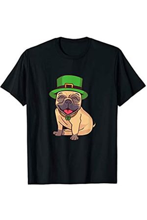 St. Patricks Day Four Leaf Clovers Happy Pug Dog Wearing Green Leprechaun Head Hat